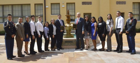 From left to right: JROTC student, Mr. Juan D'Arce, Ms. Davalyn Suarez, Angel Espinoza, Ariel Trueba, Jennifer Tejada, Cassandra Cardenas, Mr. David Young, Judge Scott Bernstein, Ms. Madelin D'Arce, Zarai Huete, Fabuola Pierre, Jessica Garcia, Manuel Baldizon, and another JROTC student.