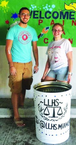 LLHS President Cassandra Cardenas (right) and Vice President Diego Reyes (left)  on Paint A Can Day.