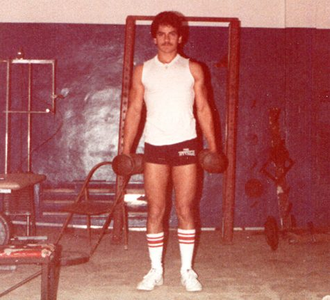Eddie in old weight room at Miami High.