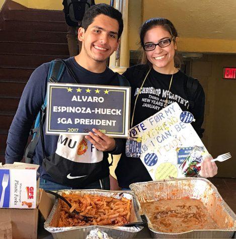 SGA presidential candidate Alvaro Espinoza-Hueck and Class of 2018 vice presidential candidate Britney Alpizar passing out pasta during election week.