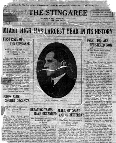 The Miami High TIMES' first newspaper from October 1923.