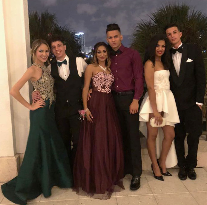Left to right: Daniela Same with her date Pedro Garcia. Darlyn Bracero with her date Lisvan Bartolome, and Dayami Mas with her date Arturo.