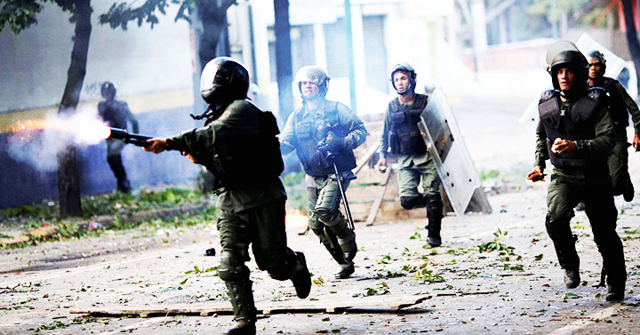 Venezuelan army attacking peaceful protesters.