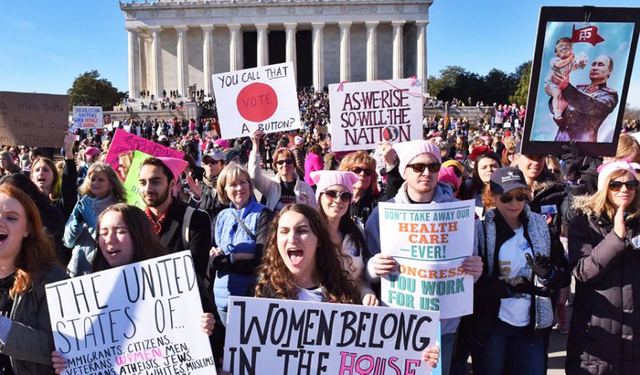 On+January+21st%2C+2018%2C+in+Washington+D.C.%2C+demonstrators+protested+about+policies+regarding+human+rights.+It+was+the+largest+one-day+protest+in+U.S.+history.