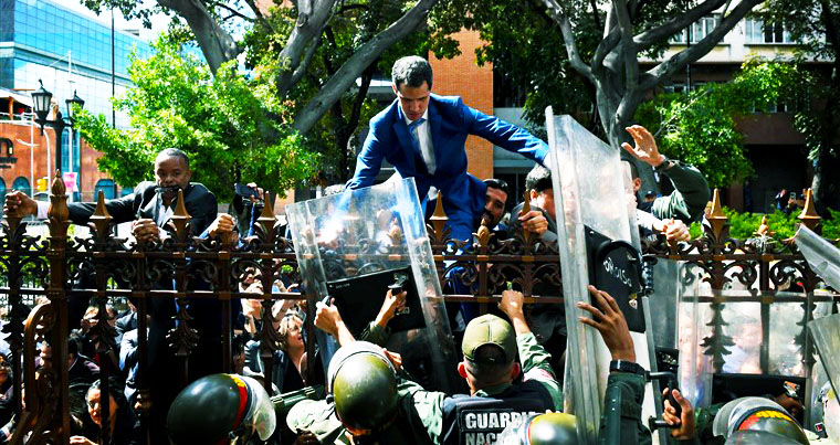 On January 5th 2020, Interim President Juan Guaido tried to get into the Venezuelan National Assembly. (Source NBC news)