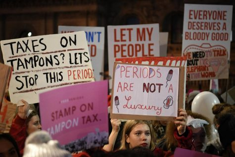 <Source: www.metro.co.uk> On December 2017 women joined a Period Poverty protest  in London in front of the minister's office.