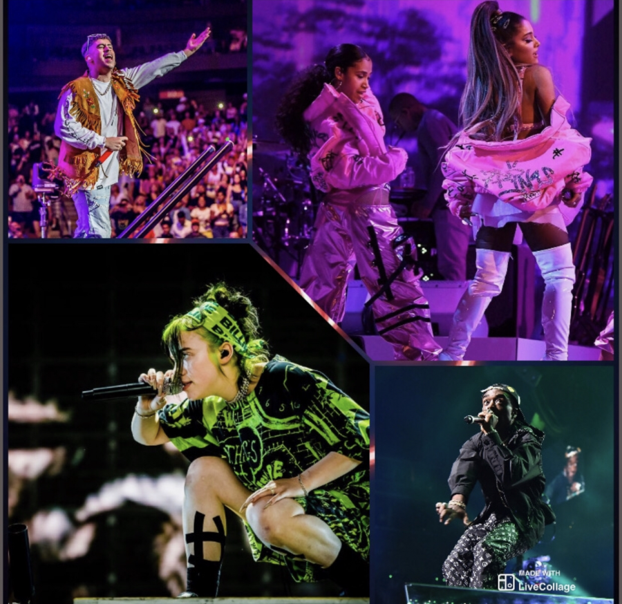 Photo collage by Christian Mendoza. In the picture we have Billie Eilish bottom left and on her right Lil Uzi. On the top right we have Ariana Grande and next to her Bad Bunny.