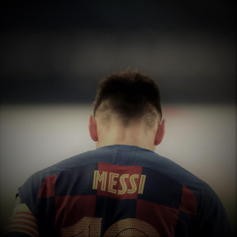 Messi looking down in disappointment after suffering a humiliating defeat to Bayern Munich in the Champions League (Source: https://www.nytimes.com/2020/08/25/sports/soccer/lionel-messi-barcelona.html)